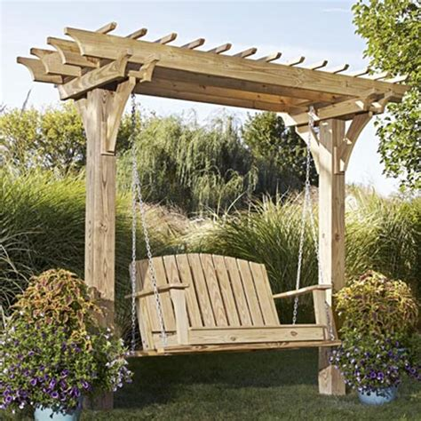 easy swinging arbor with swing woodworking plan from wood magazine landscaping
