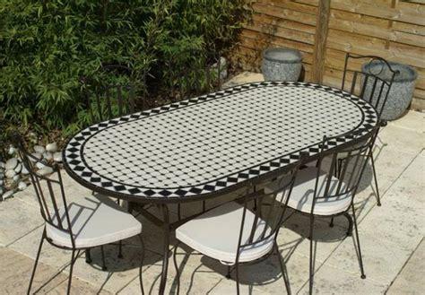 table jardin mosaique ovale 200cm c 233 ramique blanche