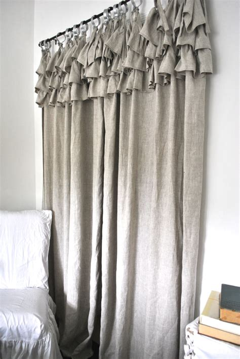 ruffle top linen curtain
