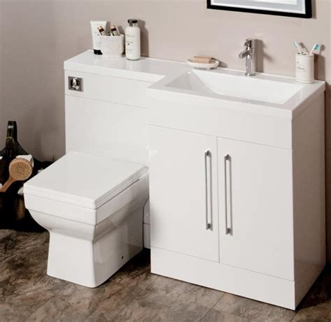 l shaped 1100mm gloss white vanity unit and wc combination rh