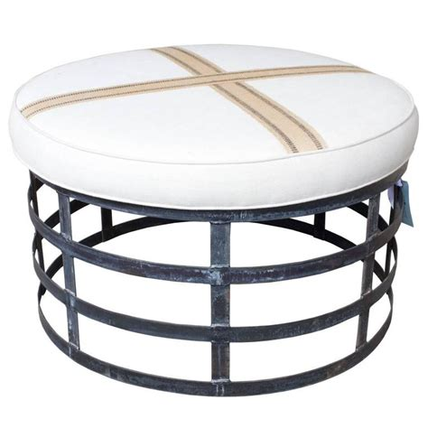 Oversized Round Industrial Style Ottoman With Cotton Linen. Scan Design Tampa. Outdoor Cabana. Backsplash Pictures. French Country Decor. Mid Century Bathroom Vanity. How To Paint Exterior Brick. Bathroom Sconces. Fireplace Stone Tile