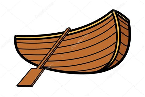 Cartoon Paddle Boat by Old Vintage Wooden Boat Vector Cartoon Illustration