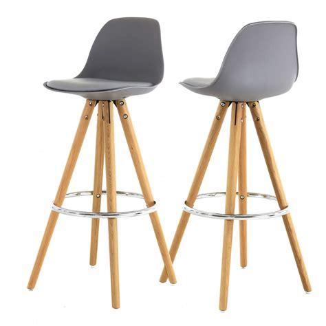 chaise haute de bar grise tr 233 pied en bois style scandinave zago store