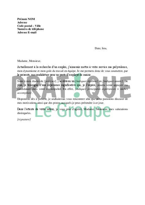 lettre de motivation pour un poste d employ 233 de mairie pratique fr