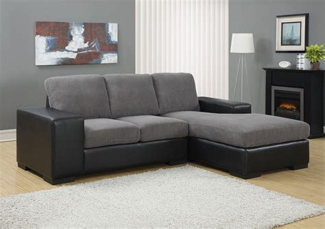 Gray Corduroy Sectional Sofa charcoal gray corduroy black sofa sectional from monarch