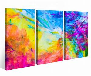 Bild 3 Teilig Auf Leinwand : leinwandbild 3 tlg wasserfarben abstrakt abstrakte kunst bunt leinwand bild bilder fertig ~ Markanthonyermac.com Haus und Dekorationen