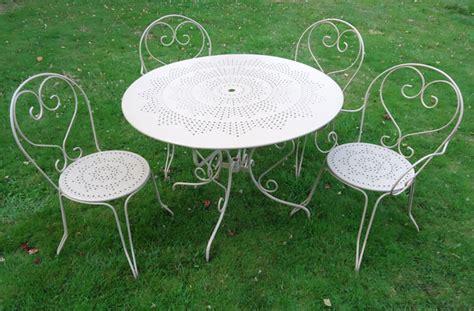 salon de jardin fer forge blanc qaland