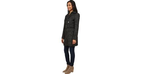 Calvin Klein Wool Belted Coat W/ Asymmetrical Zipper In Black (black/white)