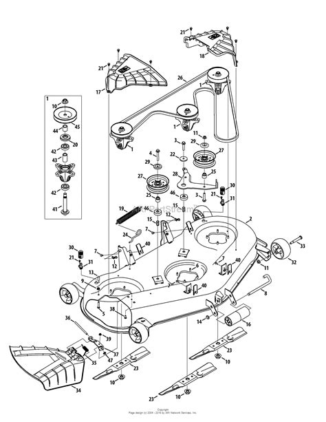 troy bilt 13wqa2kq011 bronco 50 2015 parts diagram for mower deck 50 inch
