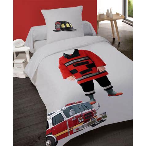 housse de couette 140x200cm petit pompier en coton les douces nuits de ma 233 linge de maison