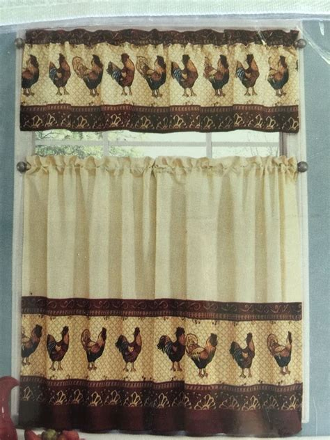 tuscany rooster tier valance kitchen curtain set