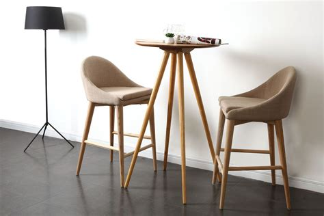 tabouret de bar design bois polyester beige dalia miliboo