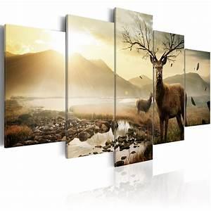 Bild 3 Teilig Auf Leinwand : wandbilder xxl tiere hirsch leinwand bilder drucke natur landschaft 030116 3 ebay ~ Markanthonyermac.com Haus und Dekorationen