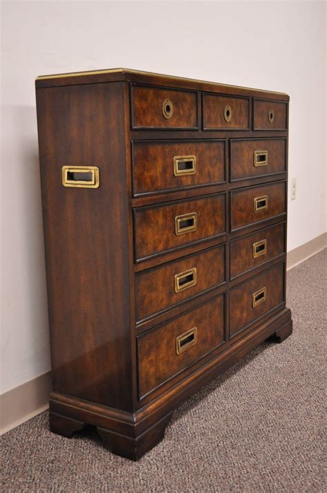 drexel heritage dresser hardware leather top caign style entry chest with brass pulls by