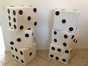 Dice made from LARGE boxes, covered in white wrapping ...