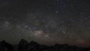 Stars Moving In Night Sky Over Mountains Time Lapse. Milky ...