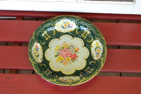vintage daher decorated ware floral bowl 1971 green shabby