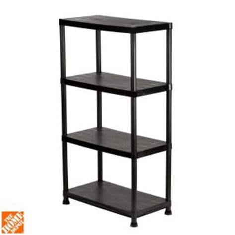 hdx 4 shelf 15 in d x 28 in w x 52 in h black plastic storage shelving unit 17307263b the