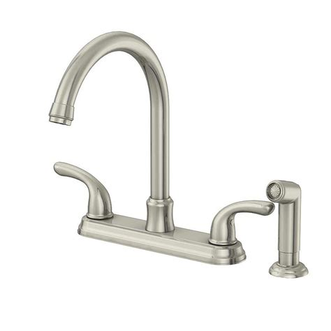 glacier bay builders 2 handle standard kitchen faucet with sprayer in stainless steel