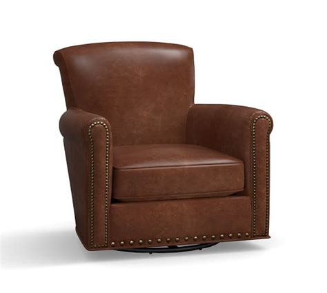 irving leather swivel glider with nailheads pottery barn