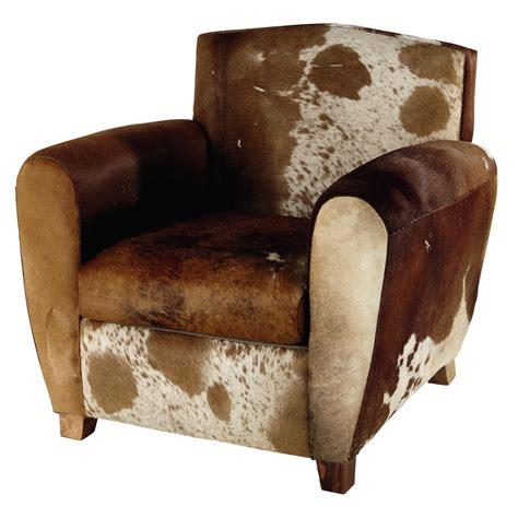 fauteuil en peau de vache marron blanc peterson maisons du monde