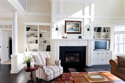 built ins around fireplace living room craftsman with built in cabinets blue wall