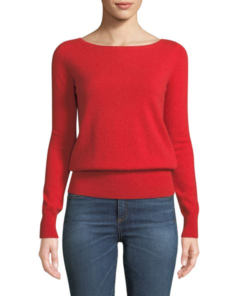 Red Cashmere Boat Neck Sweater by Neiman Marcus Cashmere Collection Long Sleeve Cashmere