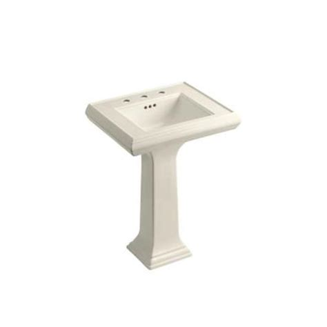 kohler memoirs ceramic pedestal combo bathroom sink in almond with overflow drain k 2238 8 47