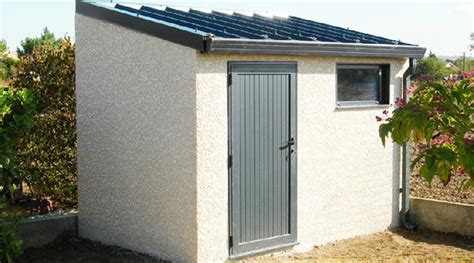abri de jardin en beton 1 pente couverture bac acier 1 porte pleine et 1 chassis