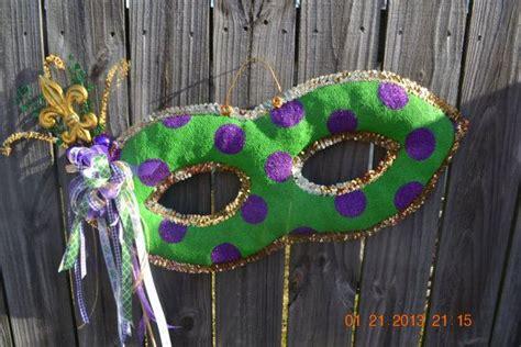 mardi gras mask burlap door hanger by monkeylynnedesigns