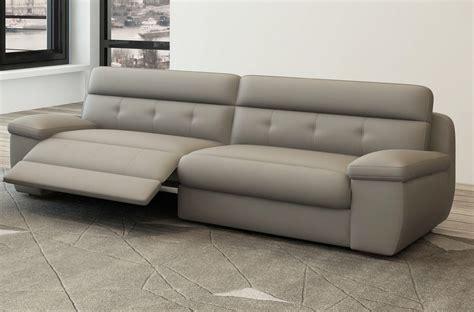 canap 233 3 places relaxation en cuir italien gris clair mobilier priv 233