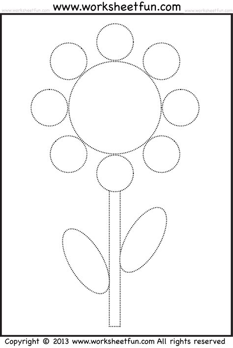 Shape Tracing And Coloring Worksheet  Circle, Oval, Rectangle  Flower  Free Printable
