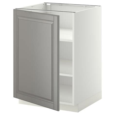 metod base cabinet with shelves white bodbyn grey 60x60 cm