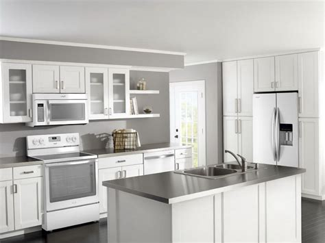 Kitchen With White Cabinets And White Appliances Home