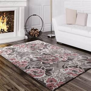 Rosa Grau Teppich : designer teppich blumen grau rosa design teppiche ~ Markanthonyermac.com Haus und Dekorationen