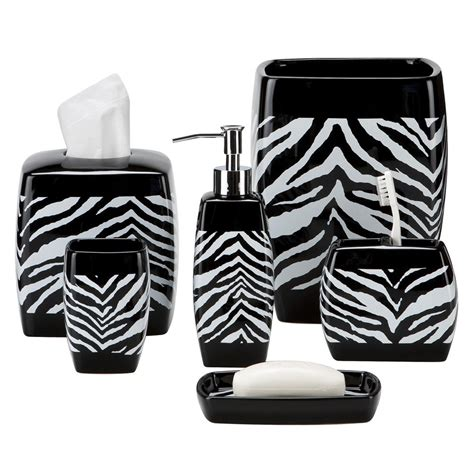 black and white zebra print bath accessories