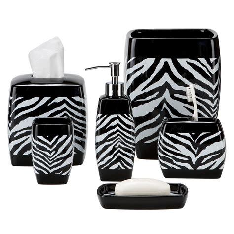 Zebra Print Bathroom Decor Black And White Zebra Print Bath Accessories