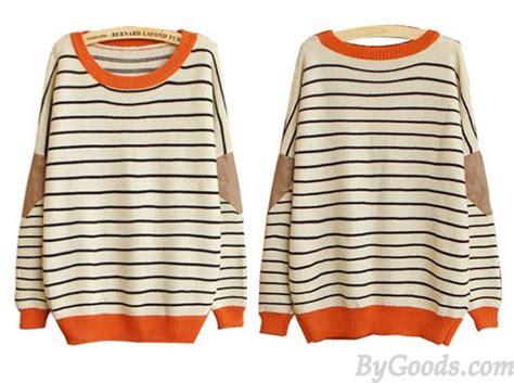 New Fashion Cream Striped Bat Sleeve Sweater &cardigan