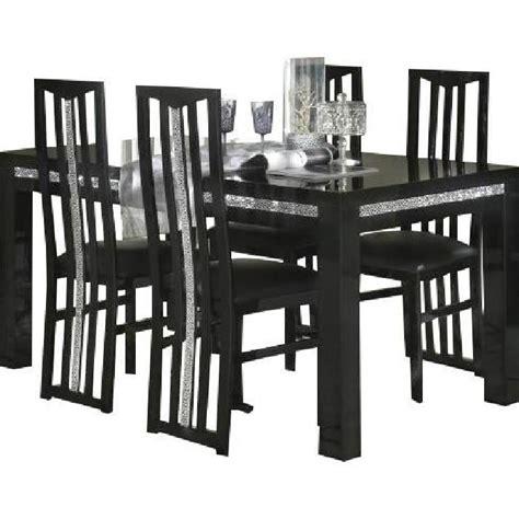 ensemble table 224 manger 190cm 4 chaises design noir achat vente table a manger complet
