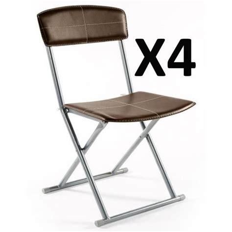 lot de 4 chaises pliantes pvc simil cuir en marron achat vente chaise salle a manger pas cher