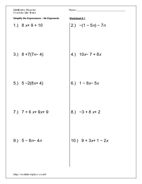 Distributive Property Addition And Subtraction Worksheets  Distributive Property Over Addition