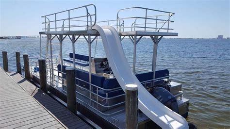 Pontoon Party Boat With Slide by Best 25 Pontoon Boat With Slide Ideas On Pinterest