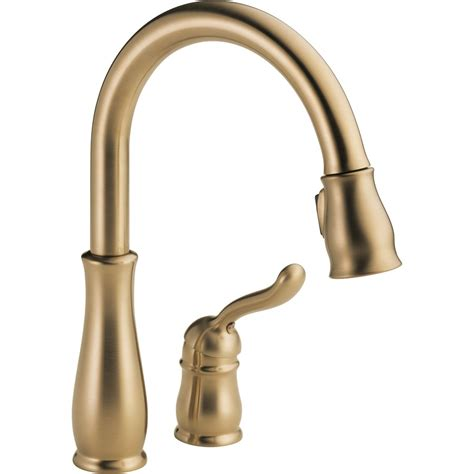shop delta leland chagne bronze pull kitchen faucet at lowes