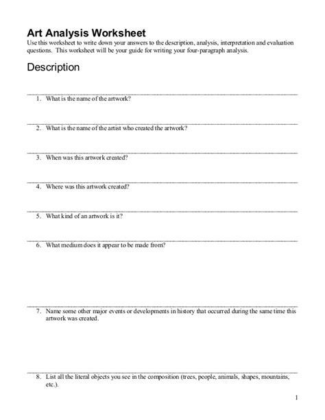 High School Art Critique Worksheet High Best Free Printable Worksheets