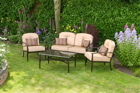 Luxury Beige Padded 4 Seater 4 Piece Metal Garden Patio Set