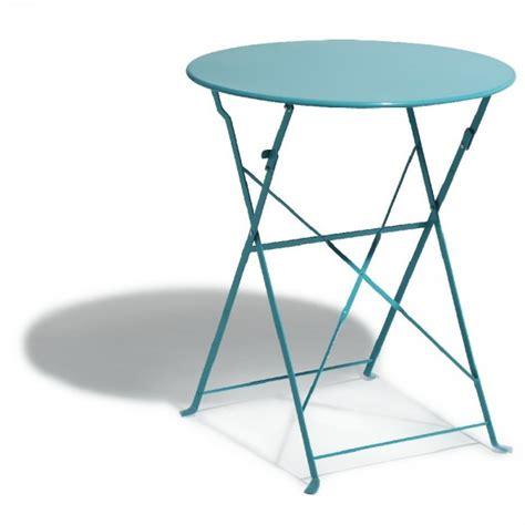 Table De Jardin Ronde Pliante 2 Personnes Métal Bleu