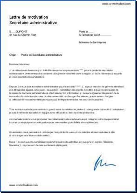 lettre de motivation secr 233 taire administrative