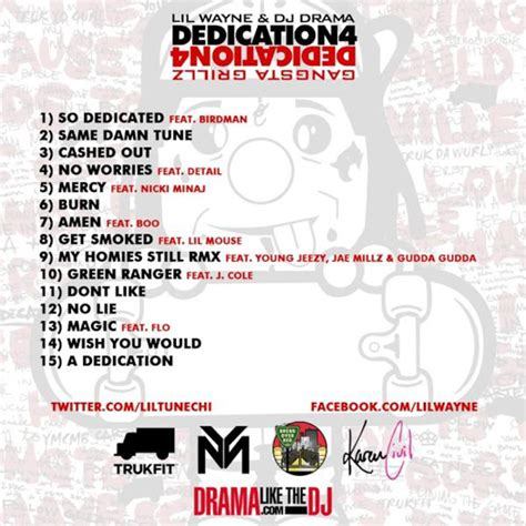 No Ceilings Mixtape Tracklist by Back Cover Tag Lil Wayne Hq