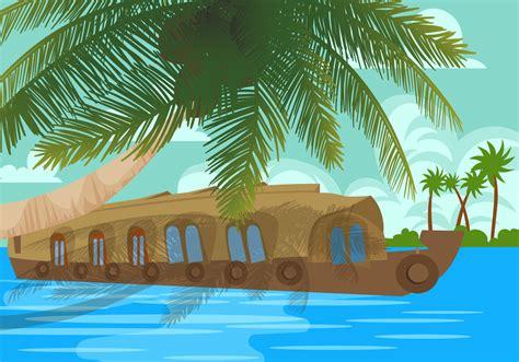 Kerala Boat House Vector by Kerala Backwaters Houseboat Vector Download Free Vector