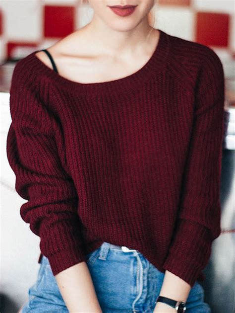Boat Neck Wine Red Sweater boat neck loose sweater wine red sweaters zaful